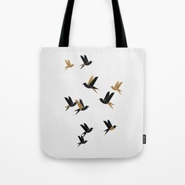 Origami Birds Collage I, Gold and Black Tote Bag
