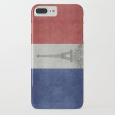 National Flag of France with Eiffel Tower  with Vintage treatment iPhone 7 Plus Slim Case