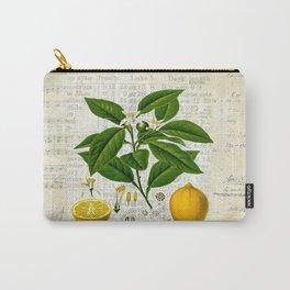 Lemon Botanical print on antique almanac collage Carry-All Pouch