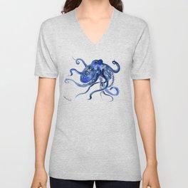 Octopus Design Blue Navy Blue Beach, cute ocotpus texture art Unisex V-Neck