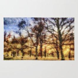 Pastel Sunset Trees Rug