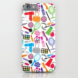 make up collection background (seamless pattern, beauty and makeup design) iPhone Case