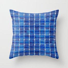Monocrystalline Solar Panels Watercolor Painting Throw Pillow