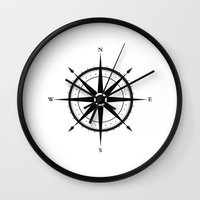 compass Wall Clocks featuring Compass by Sofie Luyckx
