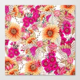 Pink orange spring vintage floral watercolor illustration pattern Canvas Print