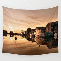 denmark Wall Tapestries featuring Beautiful Sunrise - harbour by UtArt