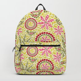 Birds and Flowers Mosaic - Yellow, green and pink Backpack