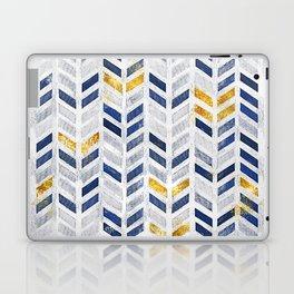 Herringbone chevron pattern.Indigo faux gold acrylic canvas Laptop & iPad Skin