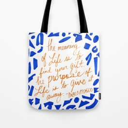 Picasso Quote in Cobalt and Gold Tote Bag