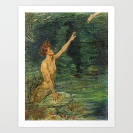 Merman Reaching Up By Myrtle Florence Broome Art Print