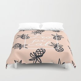 Tropical lettering with pineapple Duvet Cover