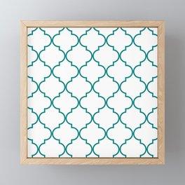 Quatrefoil - Teal on White - larger Framed Mini Art Print
