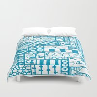 because cats Duvet Covers featuring Because Cats by Lizzy East
