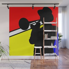 Jazz trombone player silhouette mondrian colors Wall Mural