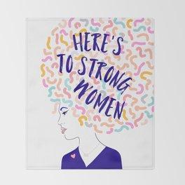 'To Strong Women' Typographic Portrait #grlpwr #illustration Throw Blanket