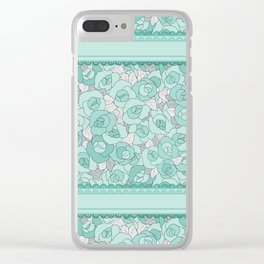 Retro Roses with lace Clear iPhone Case