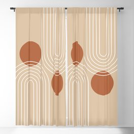 Mid Century Modern Geometric 85 in Beige and Terracotta (Rainbow and Sun Abstraction) Blackout Curtain