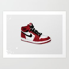 Nike Air Force 1 - Retro - Red & Black & White Art Print