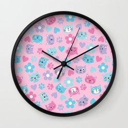 Kitty Cat Pattern by Everett Co Wall Clock