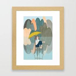 Lonely Girl In Rain Day Framed Art Print