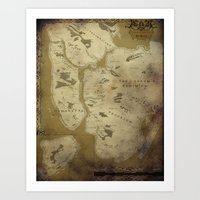 westeros Art Prints featuring Fantasy Map of New York: Dirty Parchment by Midgard Maps