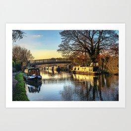 Moored At Monkey Bridge Newbury Art Print