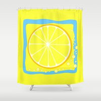 coasters Shower Curtains featuring LEMON by Tanya Pligina