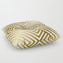 Art Deco Gold and Alabaster White Geometric Pattern Floor Pillow