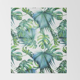 Blue Jungle Leaves, Monstera, Palm #society6 Throw Blanket