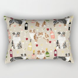Australian Shepherd blue and red merle wine cocktails yappy hour pattern dog breed Rectangular Pillow