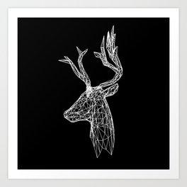 Black and White Deer Art Print