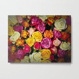 Real roses pattern Metal Print