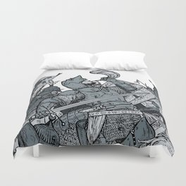 Saturday Knight Special STEEL BLUE / Vintage illustration redrawn and repurposed Duvet Cover