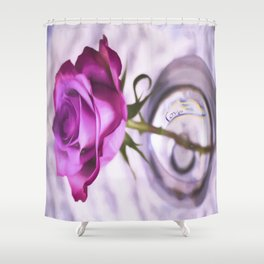Pink Rose Love In A Glass Shower Curtain