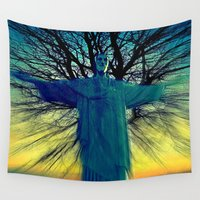 jesus Wall Tapestries featuring jesus by  Agostino Lo Coco