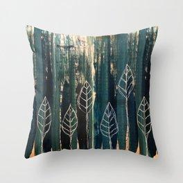 Foliage on emerald mixed media Throw Pillow