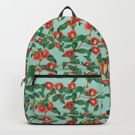 Watercolor red camellia Backpack
