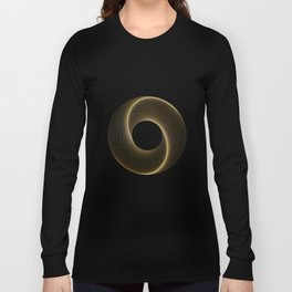 Geometrical Line Art Circle Distressed Gold Long Sleeve T-shirt