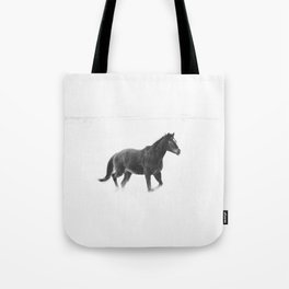 Running Horse in Black and White Tote Bag