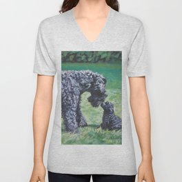 Kerry Blue Terrier dog art from an original painting by L.A.Shepard Unisex V-Neck
