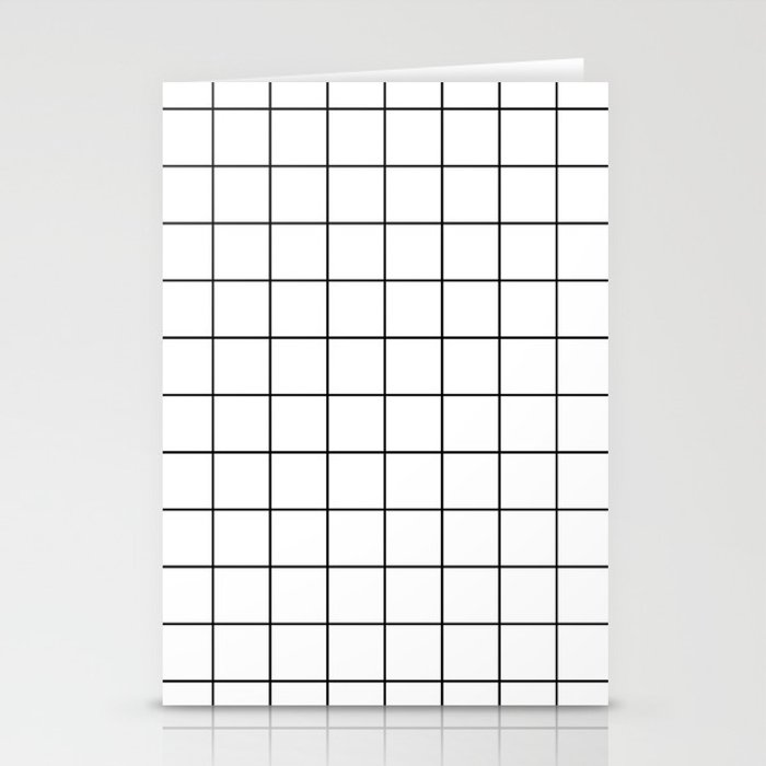 Grid Stripe Lines Black and White Minimalist Geometric Stationery Cards