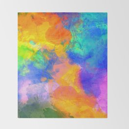 Spilt Rainbow - Abstract, watercolour art / watercolor painting Throw Blanket