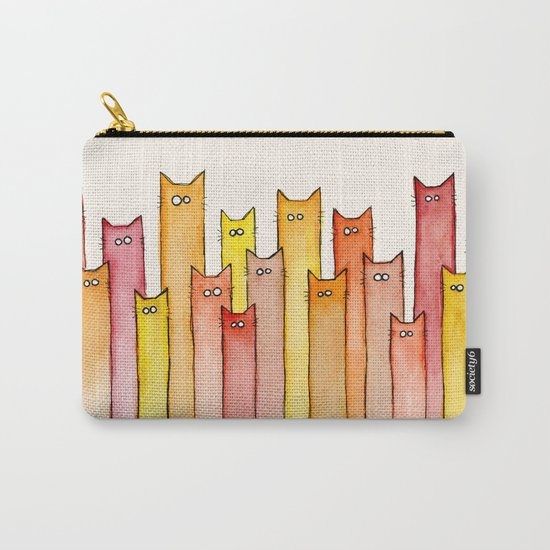 Cats Autumn Colors Pattern Whimsical Cat Orange Red Yellow Animals Carry-All Pouch