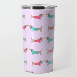 Cute dog lovers in pink background Travel Mug