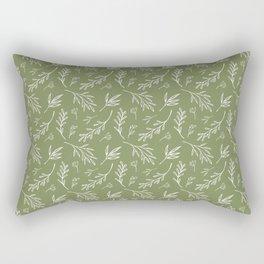 Leafy Botanical Line Art Pattern - Olive Green and White Rectangular Pillow