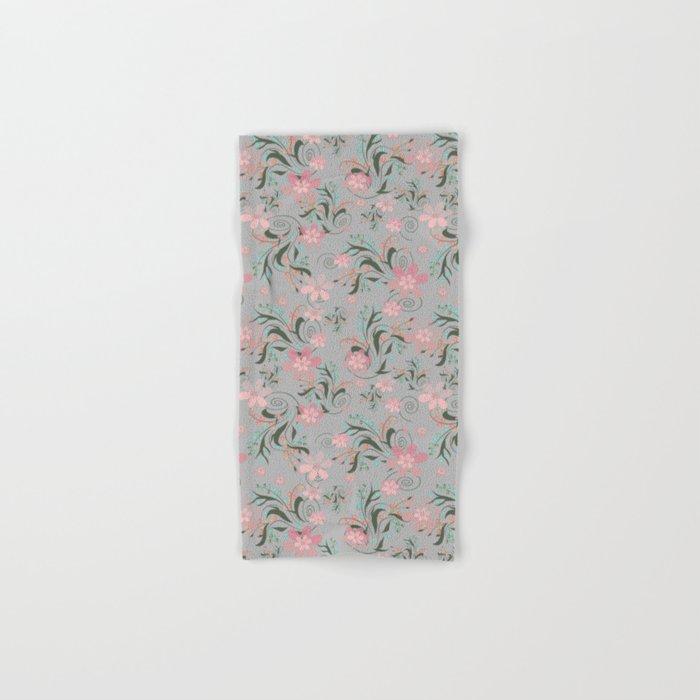 Retro . Pink flowers on grey background . Hand & Bath Towel