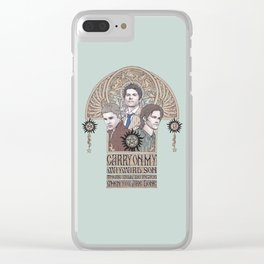Carry On My Wayward Son (Castiel, Sam and Dean Winchester) Clear iPhone Case