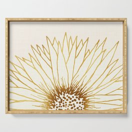 Gold Sunflower II - Wide Pastel Metallic Palette Serving Tray