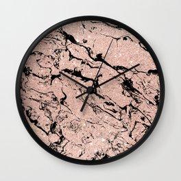 Modern faux rose gold glitter black marble Wall Clock