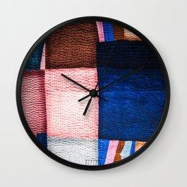 Blue Sashiko Wall Clock